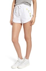 Kendall Kylie Rolled Drawstring Shorts Bright White