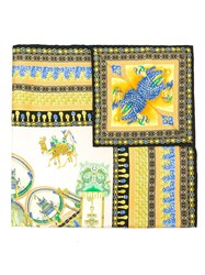 Versace Marco Polo Print Scarf Yellow And Orange