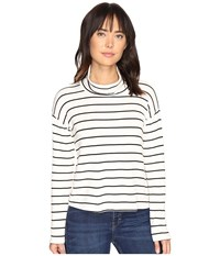 Splendid Dune Stripe Crop Turtleneck White Black Women's Long Sleeve Pullover