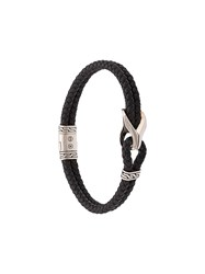John Hardy Silver Classic Chain Woven Leather Bracelet With Station Black