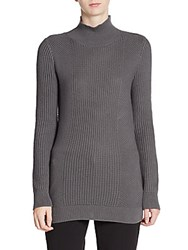 Tahari Niya Woven Cotton Sweater Grey