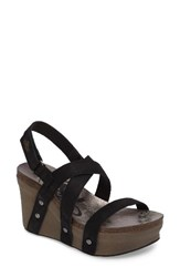 Otbt Women's Sail Wedge Sandal Black Leather