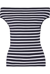 Michael Kors Collection Off The Shoulder Striped Stretch Knit Top Navy