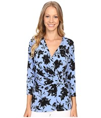 Ellen Tracy 3 4 Sleeve Twist Top Lively Floral Women's Blouse Blue
