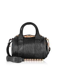 Alexander Wang Handbags Mini Rockie Black Pebbled Leather Satchel W Rose Gold Studs