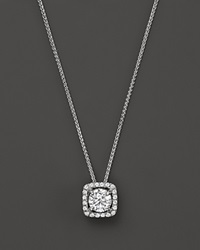 Bloomingdale's Diamond Halo Pendant Necklace In 14K White Gold .50 Ct. T.W.