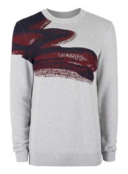 Topman Premium Grey Paint Splash Print Viscose Rich Sweater