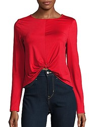 Kensie Bateau Neck Long Sleeve Top Red