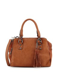 French Connection Jenny Faux Leather Satchel Bag Nutmeg Brown