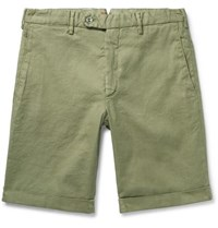 Zanella Chase Stretch Linen And Cotton Blend Shorts Sage Green