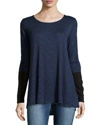 Max Studio Round Neck Pullover W Colorblocked Sleeves Blue Black