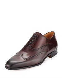 Magnanni Leather Wing Tip Oxford Burgundy