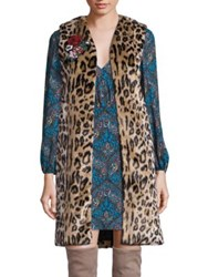 Alice Olivia Jade Faux Fur Leopard Print Vest Brown Multi
