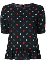 Paul Smith Ps By Circle Pattern Frilled Blouse Black