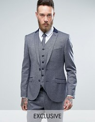Heart And Dagger Skinny Blazer In Tweed Blue