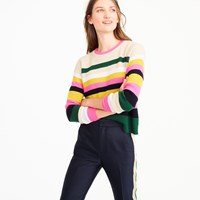 J.Crew Pop Stripe Italian Cashmere Sweater