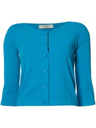 D.Exterior Cropped V Neck Cardigan Blue