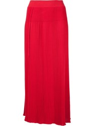Sonia Rykiel High Waisted Pleated Long Skirt Red