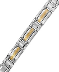 Macy's Men's Stainless Steel And 14K Gold Bracelet Mesh Inlay Bracelet