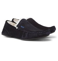 Hugo Boss Faux Shearling Lined Suede Slippers Navy