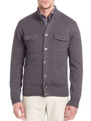 Saks Fifth Avenue Stand Collar Wool Sweater Olive Charcoal