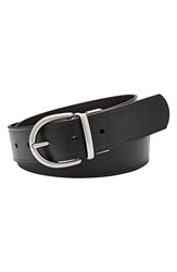Fossil Reversible Metal Keeper Leather Belt Black