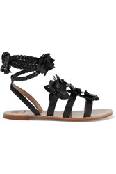 Tory Burch Blossom Gladiator Appliqued Leather Sandals Black