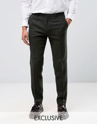 Heart And Dagger Skinny Trousers In Texture With Turn Up Khaki Green