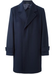 Alexander Mcqueen Single Breasted Coat Blue