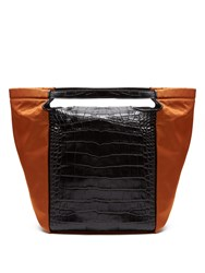 Givenchy Real Trapeze Crocodile Effect Leather Tote Black Orange