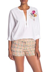 Trina Turk Triana Floral Embroidered Blouse White
