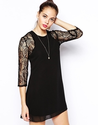 Pussycat London Swing Dress With Lace Sleeves Black
