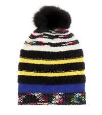 Missoni Knitted Wool Hat With Fur Trim Multicoloured