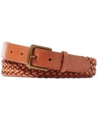Polo Ralph Lauren Men's Braided Vachetta Leather Belt Whiskey