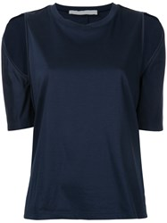 Dion Lee Cutout Shoulder T Shirt Women Cotton 6 Blue