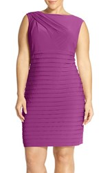 Plus Size Women's Adrianna Papell Shutter Pleat Sheath Dress Dahlia Purple