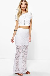 Boohoo Boutique Lace Crop And Maxi Skirt Co Ord White