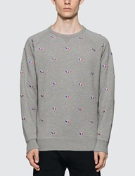 Maison Kitsune All Over Tricolor Fox Embroidery Sweatshirt Grey