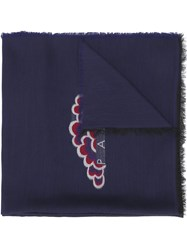 Kenzo Embroidered Detail Scarf Blue