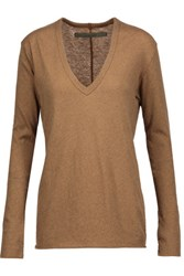 Enza Costa Cotton And Cashmere Blend Sweater Camel