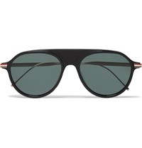 Thom Browne Aviator Style Acetate And Enamelled Gold Tone Sunglasses Black