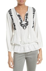 Joie Women's Embroidered Cotton Peasant Blouse