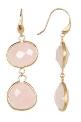 Rivka Friedman 18K Gold Clad E W And Teardrop Faceted Rose Quartz Dangle Earrings Pink