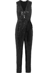 Diane Von Furstenberg Orianna Sequined Silk Chiffon And Satin Jersey Jumpsuit Black