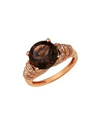 Lord And Taylor 14K Rose Gold Smokey Quartz Diamond Ring Smokey Quartz Rose Gold