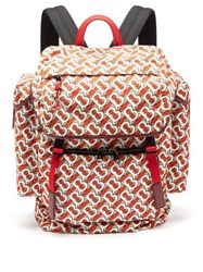 Burberry Tb Monogram Leather Trim Backpack Red Multi