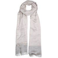 Dents Woven Floral Scarf With Colour Border Silver