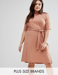 Pink Clove Plus Midi Rib Dress With Side Splits Beige