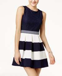 Speechless Juniors' Lace Colorblocked Fit And Flare Dress Navy