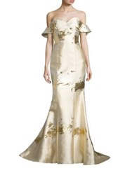 Alberto Makali Metallic Off The Shoulder Gown Gold